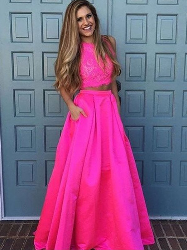 A-Line/Princess Scoop Sleeveless Long Satin Two Piece Dresses With With Lace