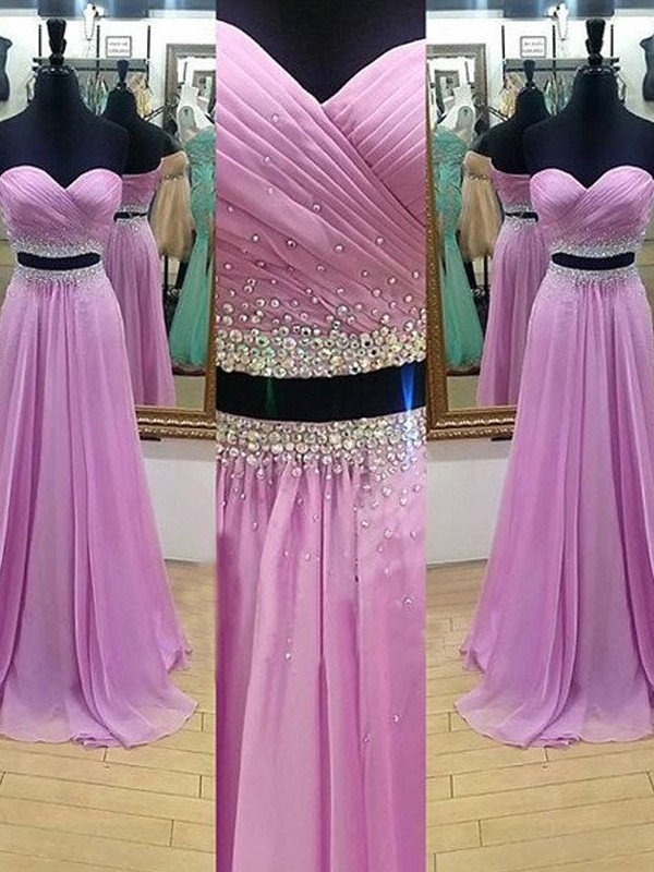 A-Line/Princess Sweetheart Sleeveless Long Chiffon Two Piece Dresses With Beading
