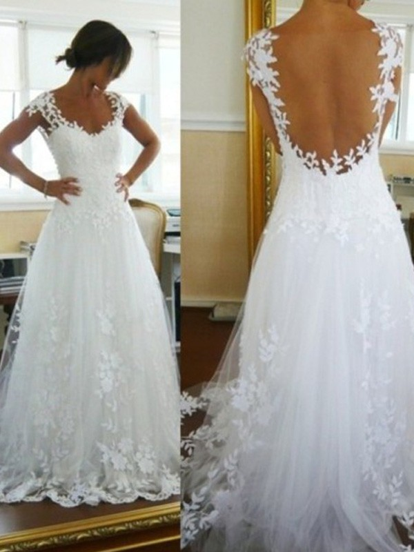 A-Line/Princess V-neck Sweep/Brush Train Sleeveless Tulle Wedding Dresses With Lace