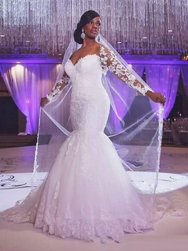 Trumpet/Mermaid Long Sleeves Sweetheart Sweep/Brush Train Tulle Wedding Dresses With Applique