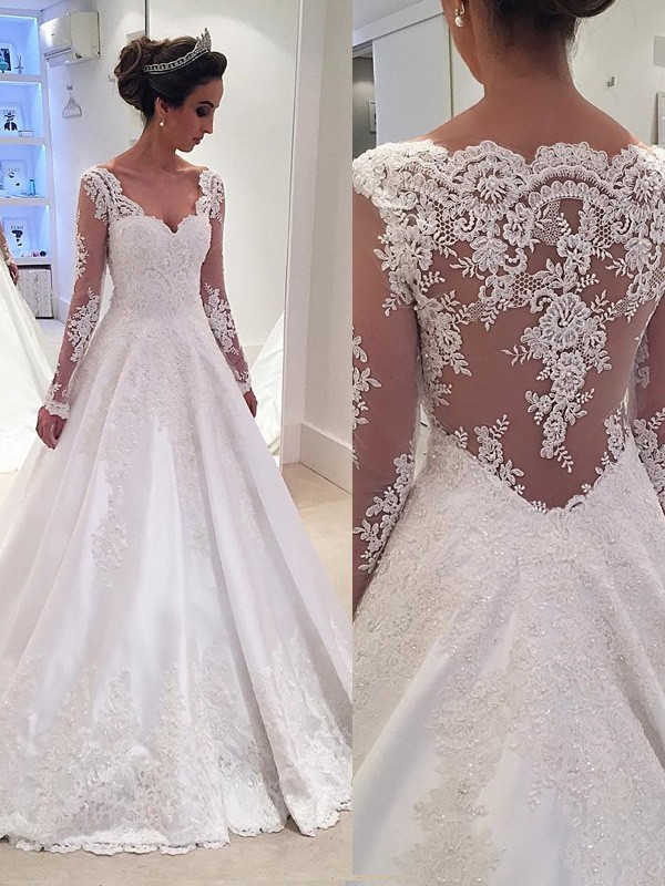 Ball Gown V-neck Long Sleeves Court Train Satin Wedding Dresses With Lace