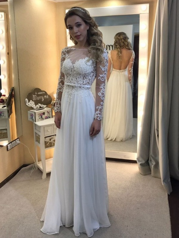 A-Line/Princess Bateau Floor-Length Long Sleeves Chiffon Wedding Dresses With Lace