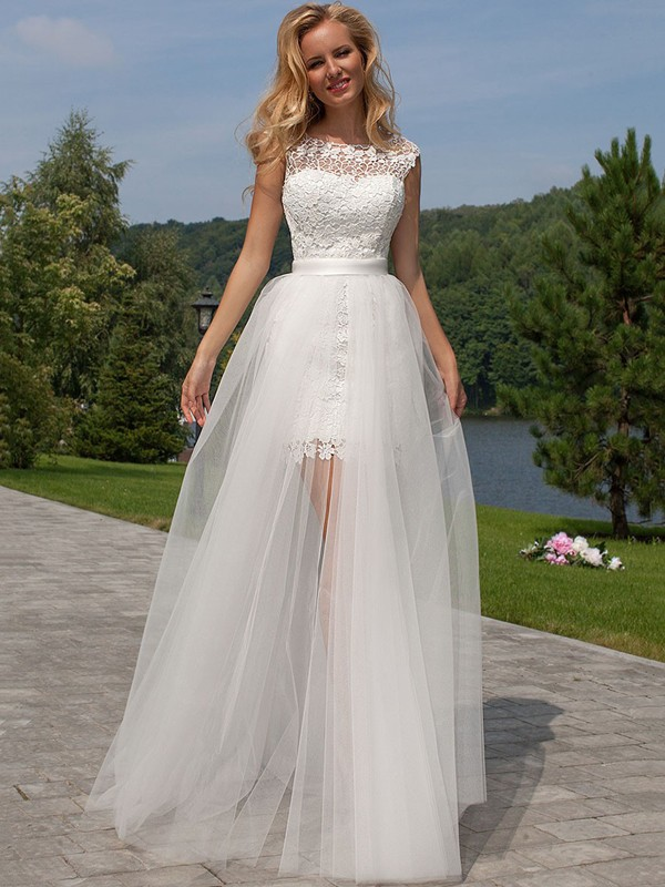 Sheath/Column Sleeveless Scoop Floor-Length Tulle Wedding Dresses With Lace