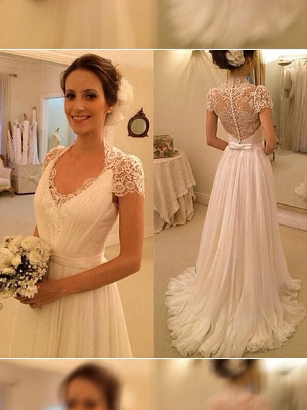A-Line/Princess V-neck Sweep/Brush Train Sleeveless Chiffon Wedding Dresses With Lace