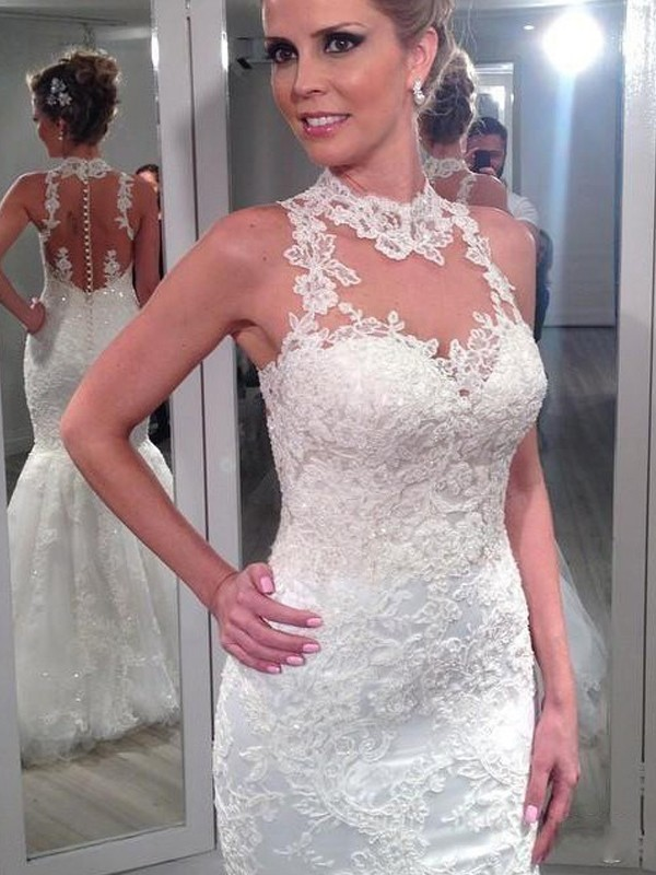 Trumpet/Mermaid High Neck Sleeveless Floor-Length Tulle Wedding Dresses With Lace