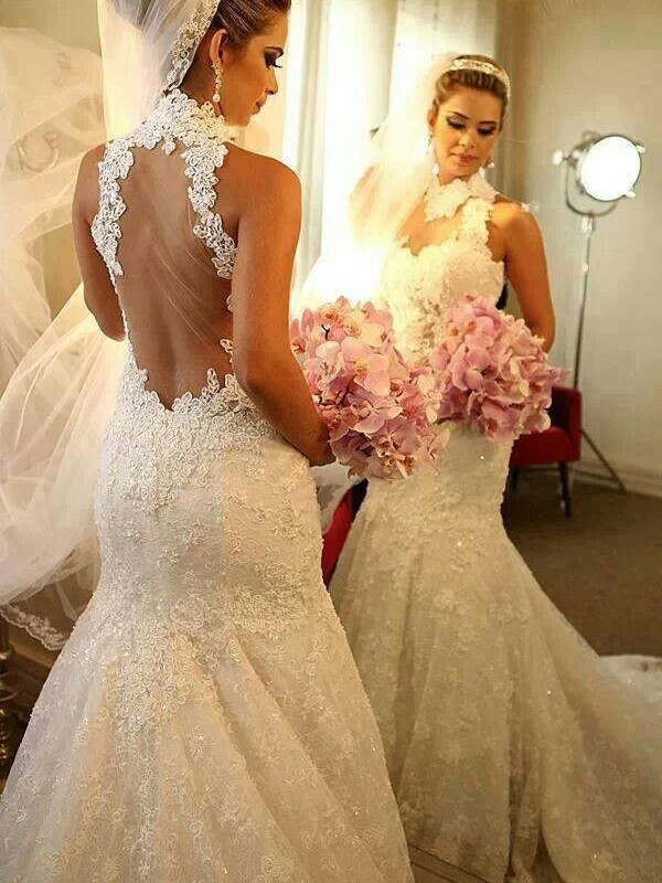 Trumpet/Mermaid High Neck Sleeveless Court Train Wedding Dresses With Lace