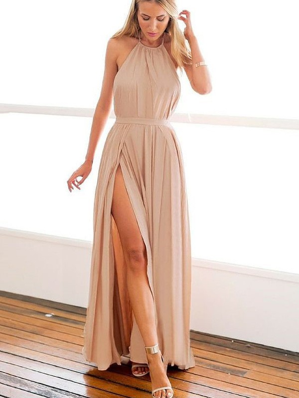 A-Line/Princess Halter Floor-Length Chiffon Dresses