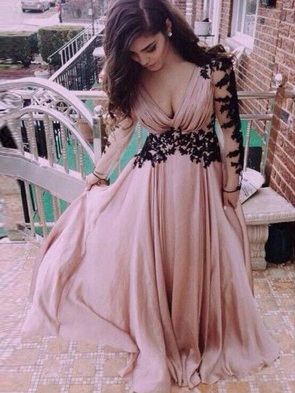 A-Line/Princess V-neck Chiffon Applique Floor-Length Dresses