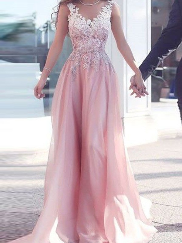 A-Line/Princess Sweetheart Floor-Length Applique Chiffon Dresses