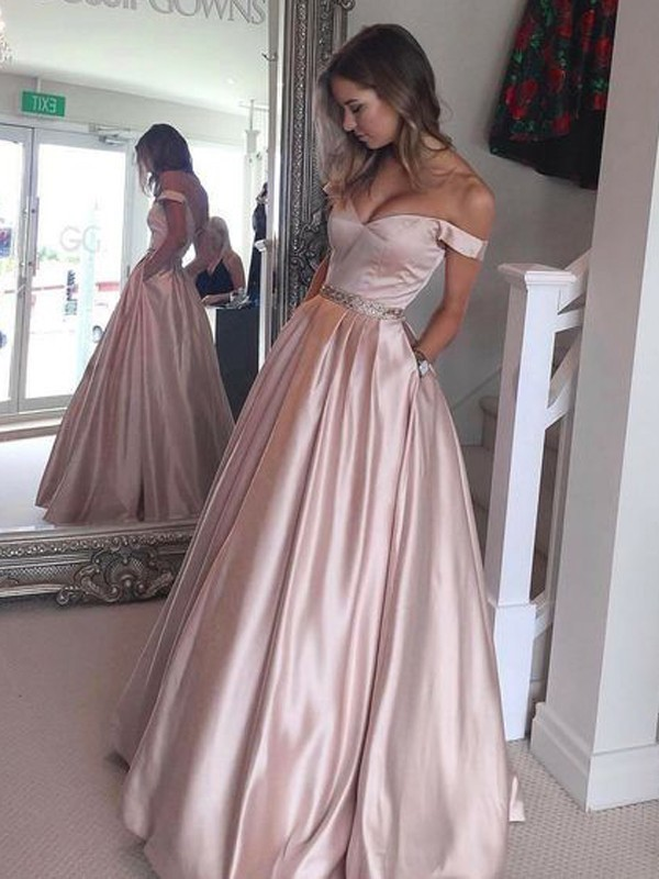 A-Line/Princess Off-the-Shoulder Sleeveless Floor-Length Dresses