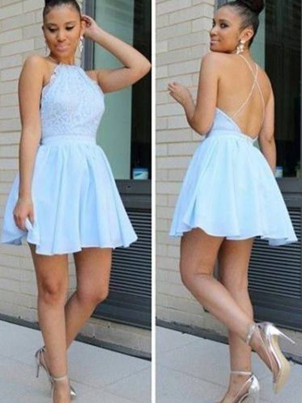 A-Line/Princess Halter Sleeveless Short/Mini Chiffon Dress With Lace