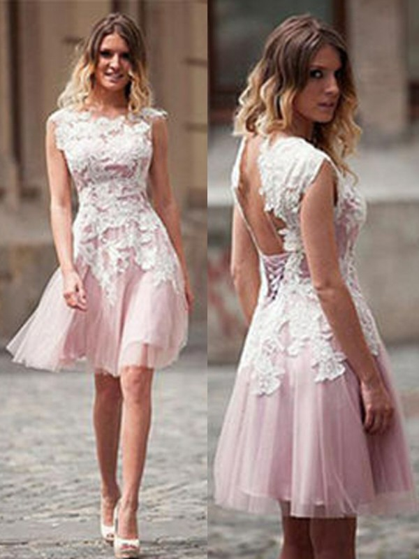 A-Line Sleeveless Scoop Applique Tulle Short/Mini Dress With Applique