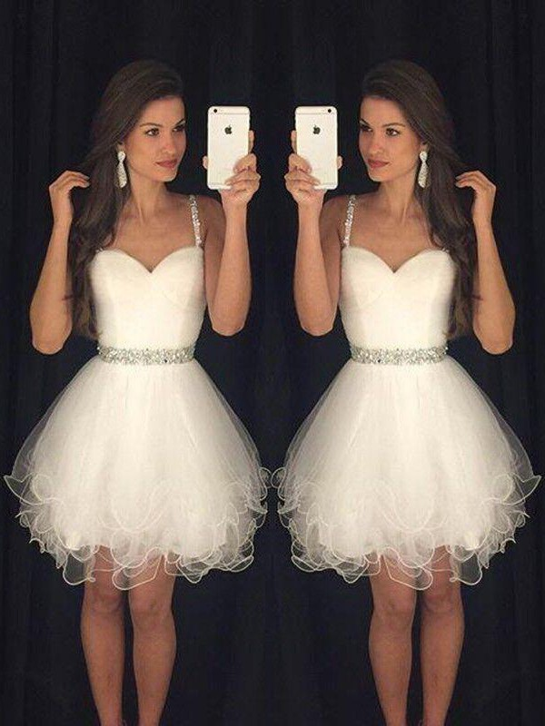 A-Line/Princess Sleeveless Sweetheart Tulle Short/Mini Dress With Beading