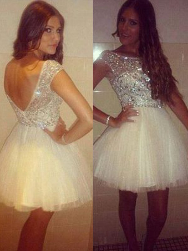Elegant A-Line/Princess Sleeveless Scoop Tulle Short/Mini Dress With Beading