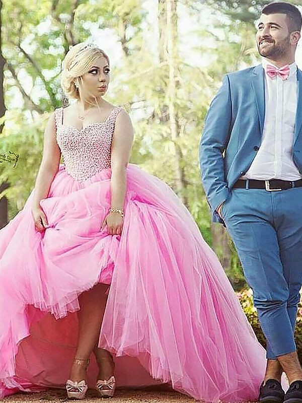 Ball Gown Sleeveless Sweetheart Tulle Sweep/Brush Train Plus Size Dress With Pearls