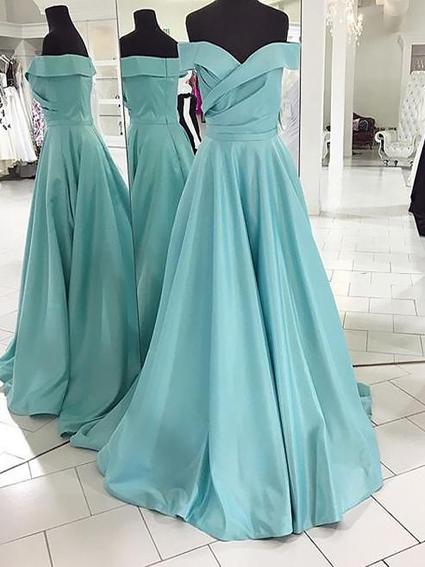 A-Line/Princess Off-the-Shoulder Sleeveless Sweep/Brush Train Ruched Satin Dresses