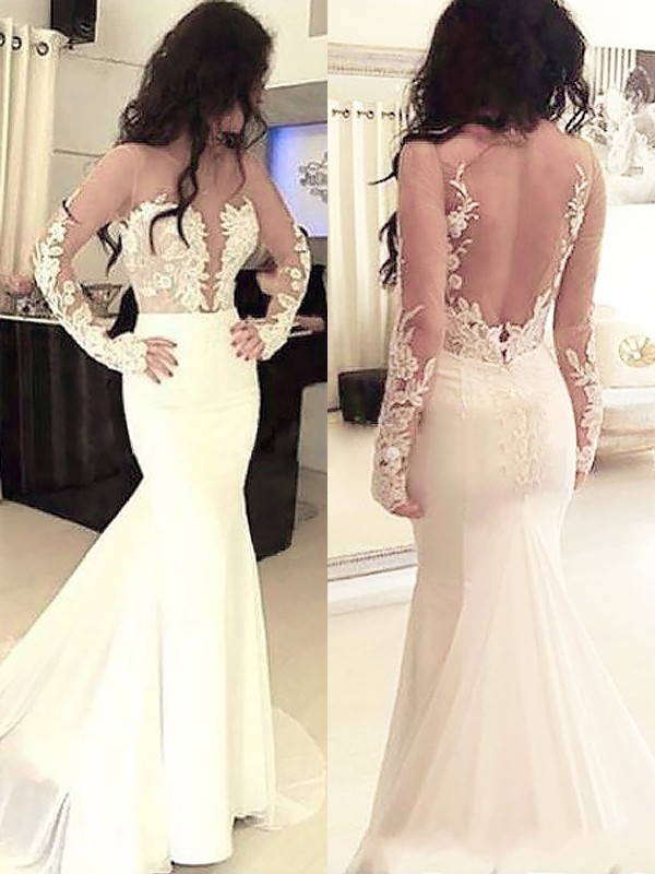 Trumpet/Mermaid Scoop Chiffon Applique Sweep/Brush Train Dresses