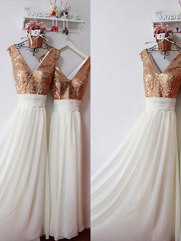 A-Line/Princess V-neck Floor-Length Sequin Chiffon Bridesmaid Dresses