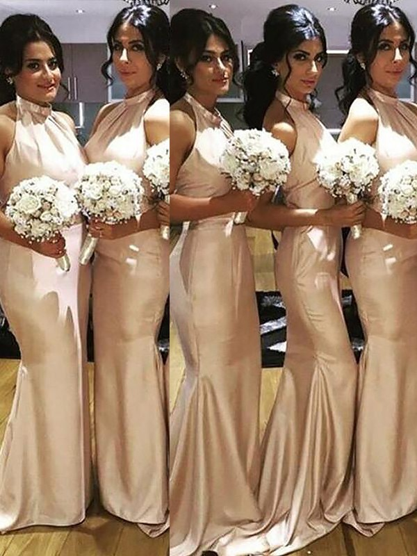 Trumpet/Mermaid Halter Sweep/Brush Train Satin Bridesmaid Dresses