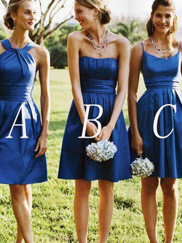 A-Line/Princess Short/Mini Satin Bridesmaid Dresses