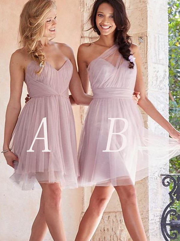 A-Line/Princess Short/Mini Tulle Bridesmaid Dresses