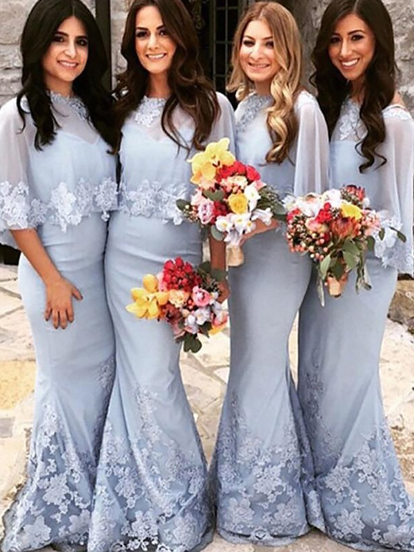 Trumpet/Mermaid Scoop Floor-Length Satin Bridesmaid Dresses