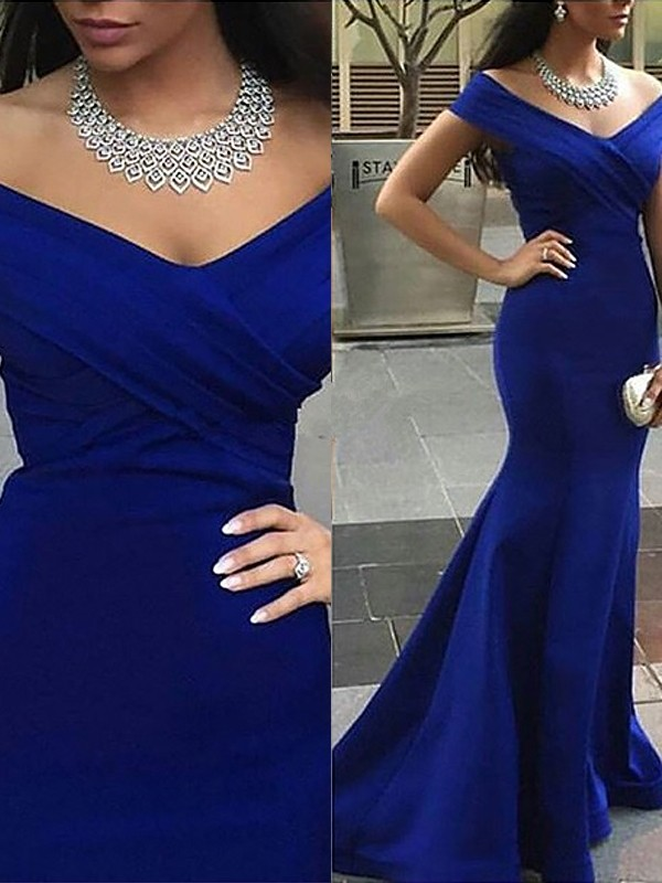 Royal Blue Satin Off-the-Shoulder Trumpet/Mermaid Sweep/Brush Train Dresses
