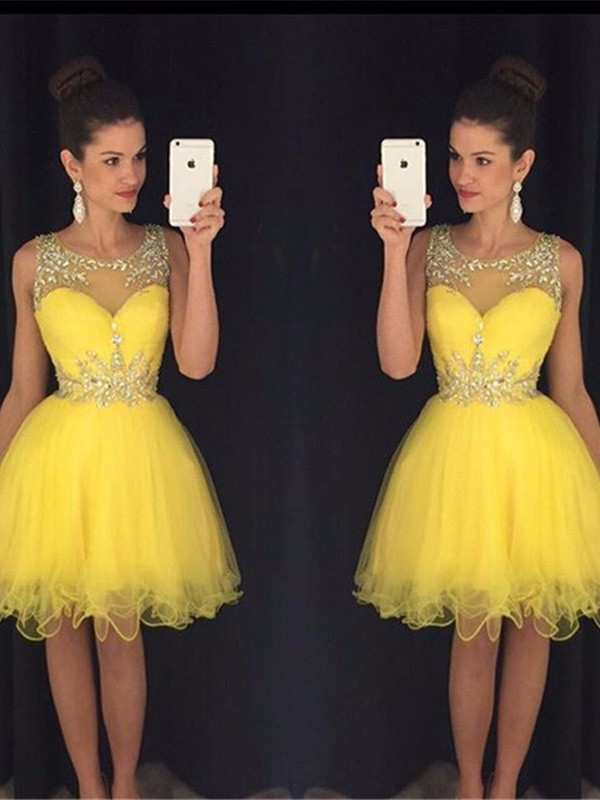 A-Line/Princess Scoop Sleeveless Tulle Short/Mini Dress With Beading