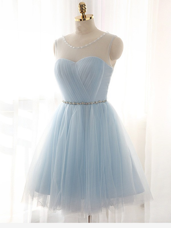 Glamour A-Line/Princess Scoop Sleeveless Short/Mini Tulle Dress With Beading