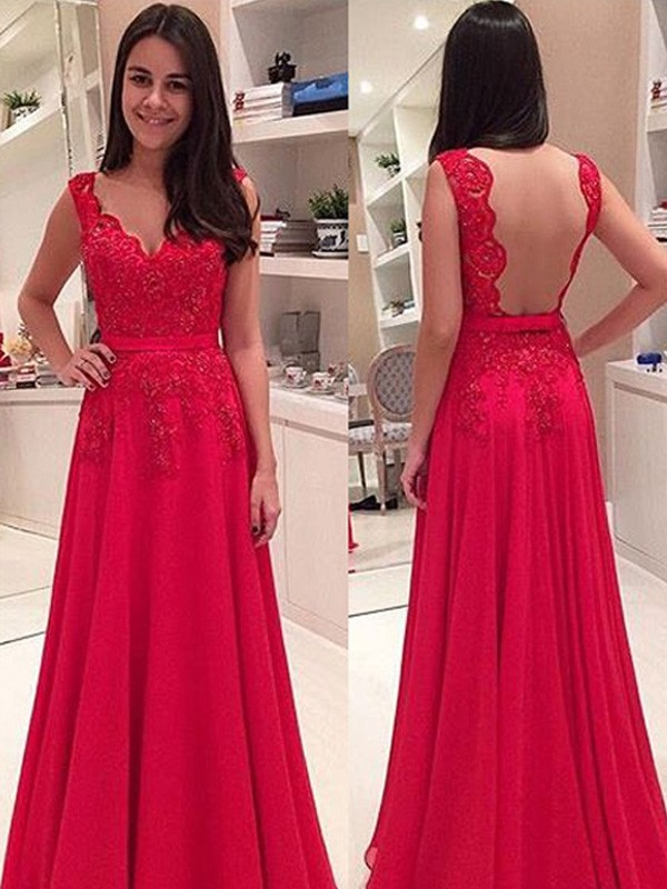 A-Line/Princess Sweetheart Sleeveless Long Chiffon Dresses With Appliques