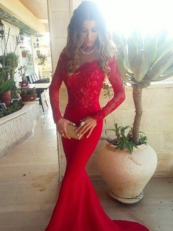 Trumpet/Mermaid Off-the-Shoulder Long Sleeves Sweep/Brush Train Satin Dresses With With Lace