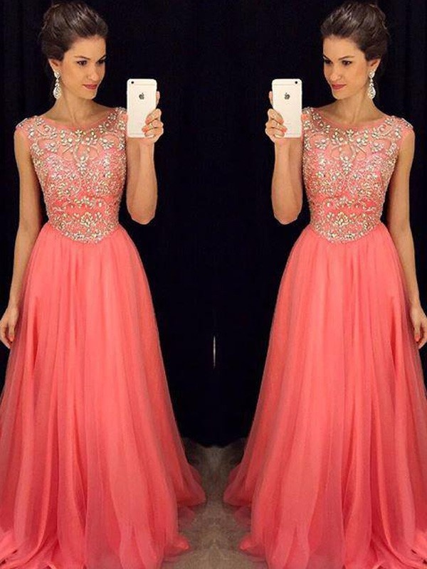 A-Line/Princess Scoop Sleeveless Long Chiffon Dresses With Beading
