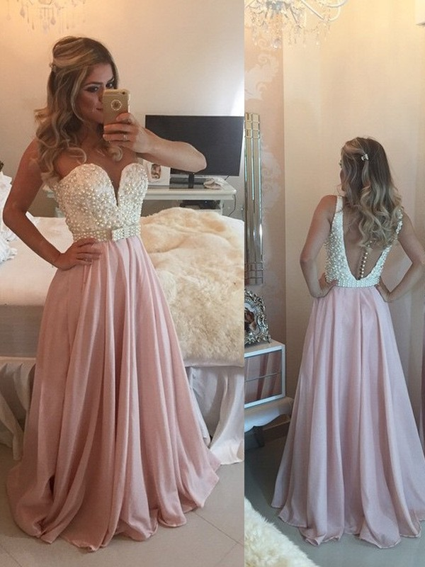 A-Line/Princess Sweetheart Sleeveless Pearls Long Chiffon Dresses With Pearls