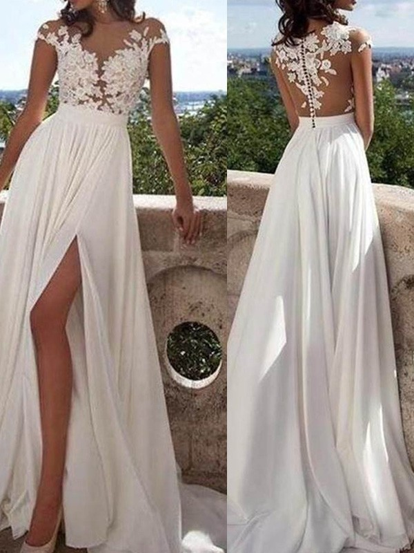 A-Line/Princess Short Sleeves Scoop Long Chiffon Dresses With Appliques