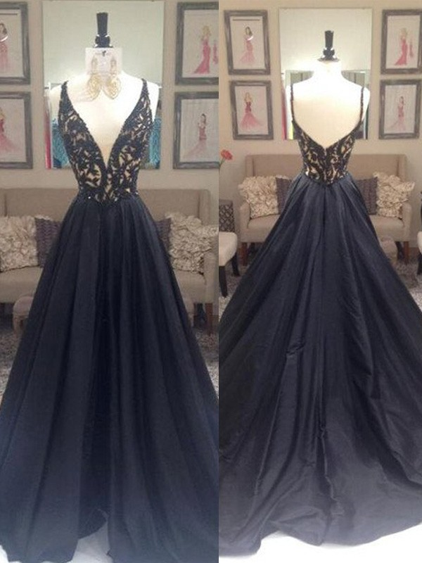 A-Line/Princess V-neck Sleeveless Sweep/Brush Train Taffeta Dresses With Beading