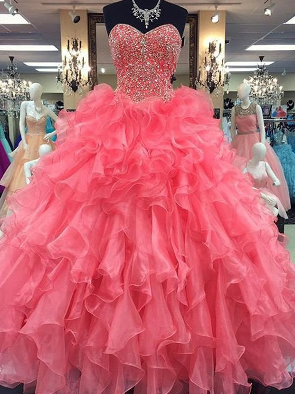 Ball Gown Sweetheart Sleeveless Long Organza Dresses With Beading