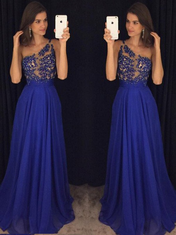 A-Line/Princess Sleeveless One-Shoulder Long Chiffon Dresses With Beading