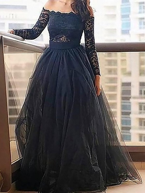 A-Line/Princess Off-the-Shoulder Long Sleeves Tulle Dresses With With Lace