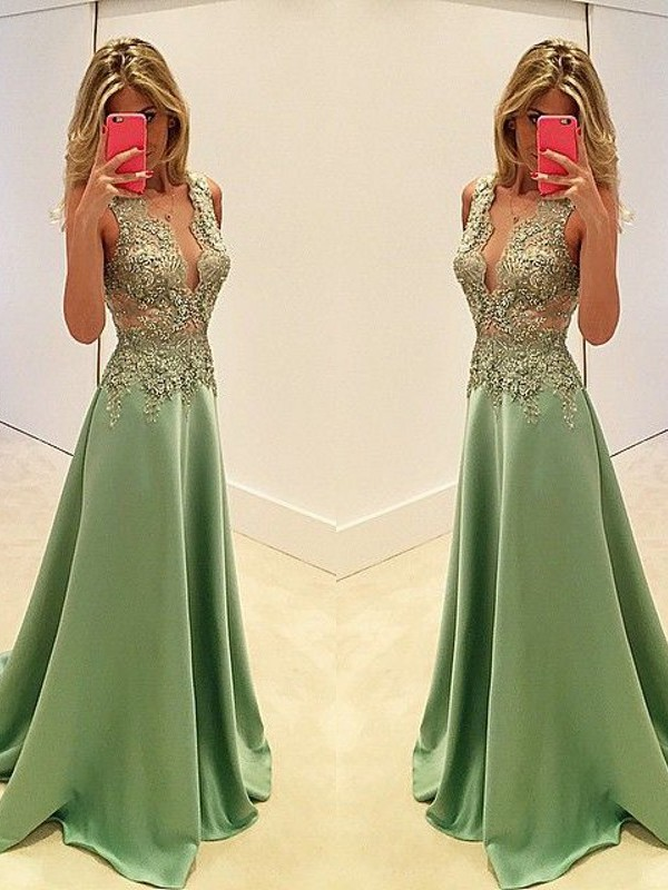 A-Line/Princess V-neck Long Sleeveless Satin Dresses With Appliques