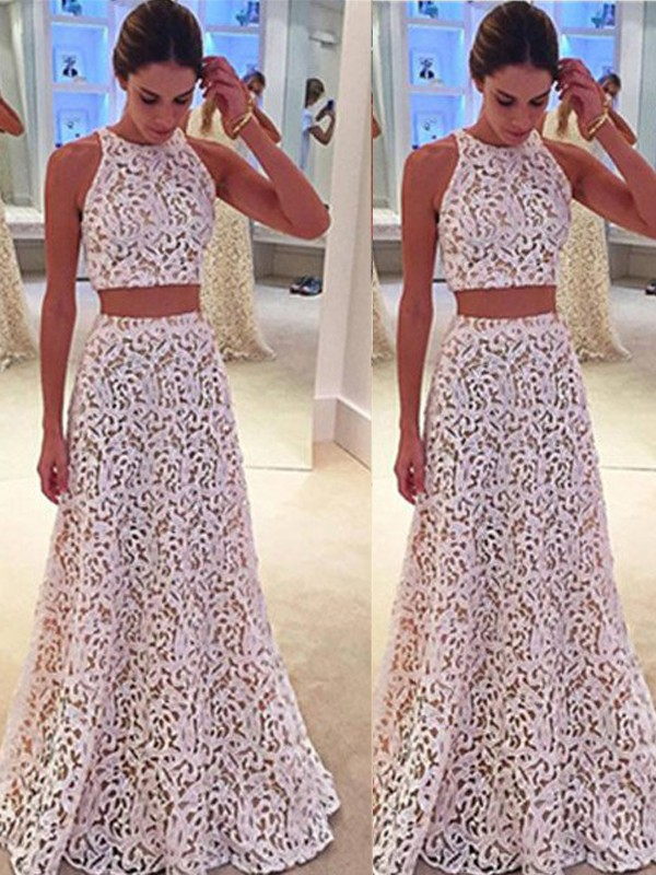 A-Line/Princess Scoop Sleeveless Long Dresses With With Lace