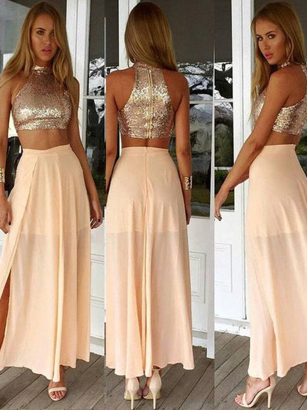 A-Line/Princess High Neck Sleeveless Chiffon Ankle-Length Dresses With Sequins
