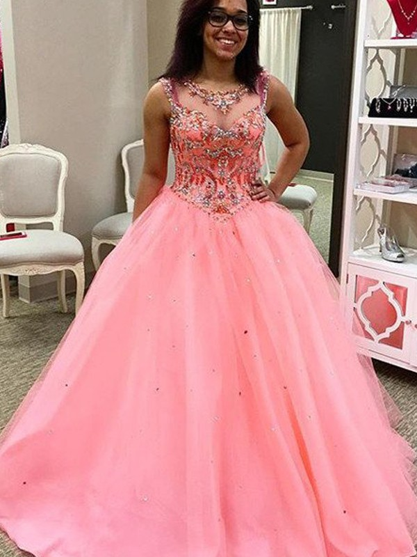 Ball Gown Sweetheart Sleeveless Tulle Long Dresses With Beading