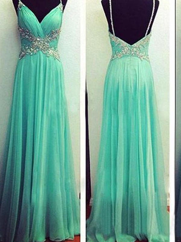 A-Line/Princess Spaghetti Straps Sleeveless Long Chiffon Dresses With Beading