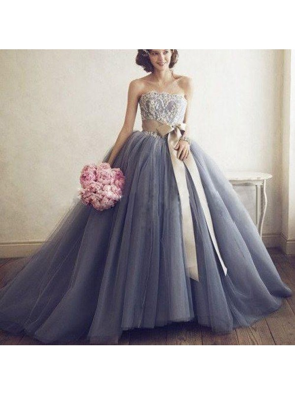 Ball Gown Sweetheart Applique Tulle Sweep/Brush Train Dresses