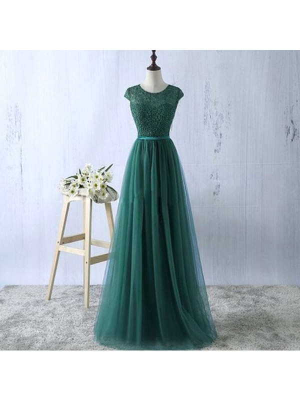 A-Line/Princess Scoop Tulle Floor-Length Dresses
