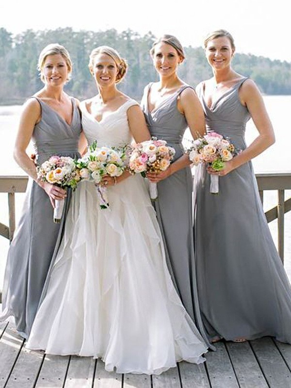 Grey A-Line/Princess V-neck Sleeveless Long Chiffon Bridesmaid Dress