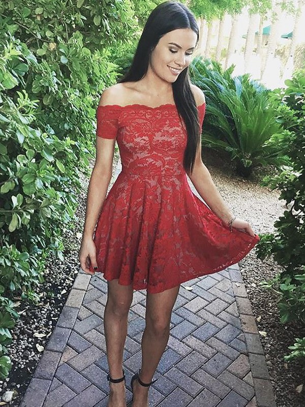 A-Line/Princess Off-the-Shoulder Short/Mini Lace Dresses