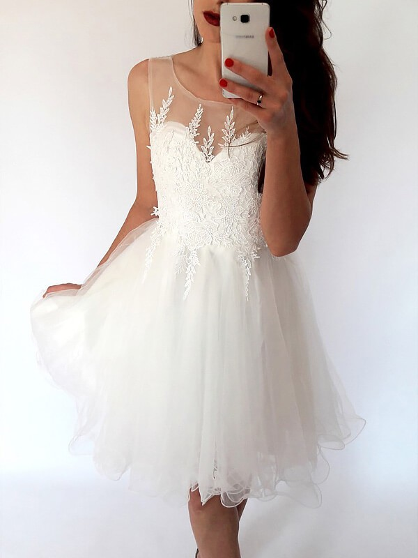 A-Line/Princess Scoop Tulle Short/Mini Dresses