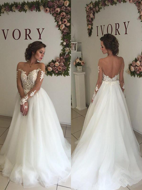 A-Line/Princess Tulle Off-the-Shoulder Sweep/Brush Train Long Sleeves Wedding Dresses