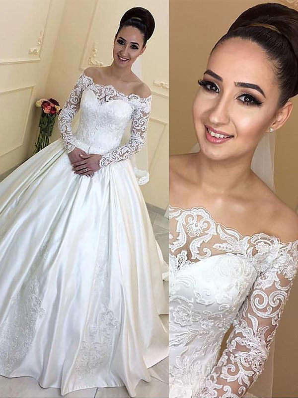 Ball Gown Long Sleeves Off-the-Shoulder Satin Court Train Wedding Dresses